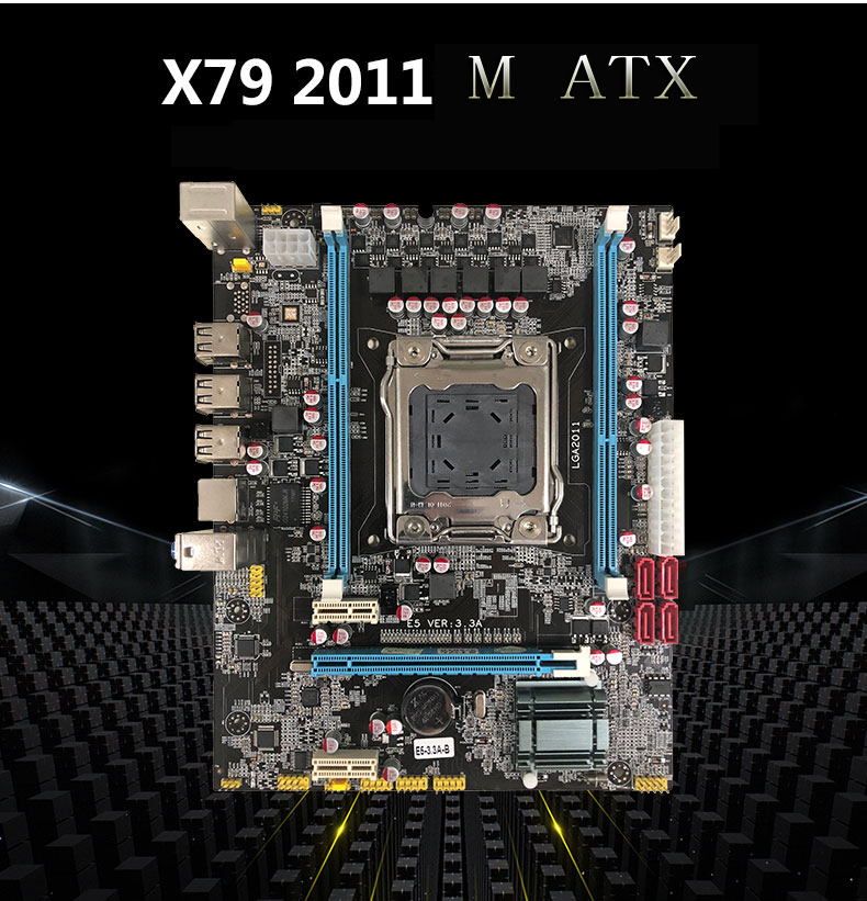 New Desktop Motherboard X79D E5 VER:3.3A X79 LGA 2011 DDR3 mainboard All-Solid M ATX free shipping new desktop motherboard new x79 with usb 3 0 support ecc ram mainboard lga 2011 all solid boards