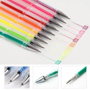 Image 4 - BGLN 100 สีเจลปากกาผ้าใบกระเป๋าชุดเติมหมึกเจลปากกา Metallic Pastel Neon Glitter โรงเรียน Sketch สำหรับภาพวาดสีปากกา