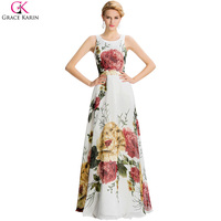 Real Sample Chiffon Flower Floral Printed Prom Dresses Long Grace Karin 2016 Oriental Summer Style Long