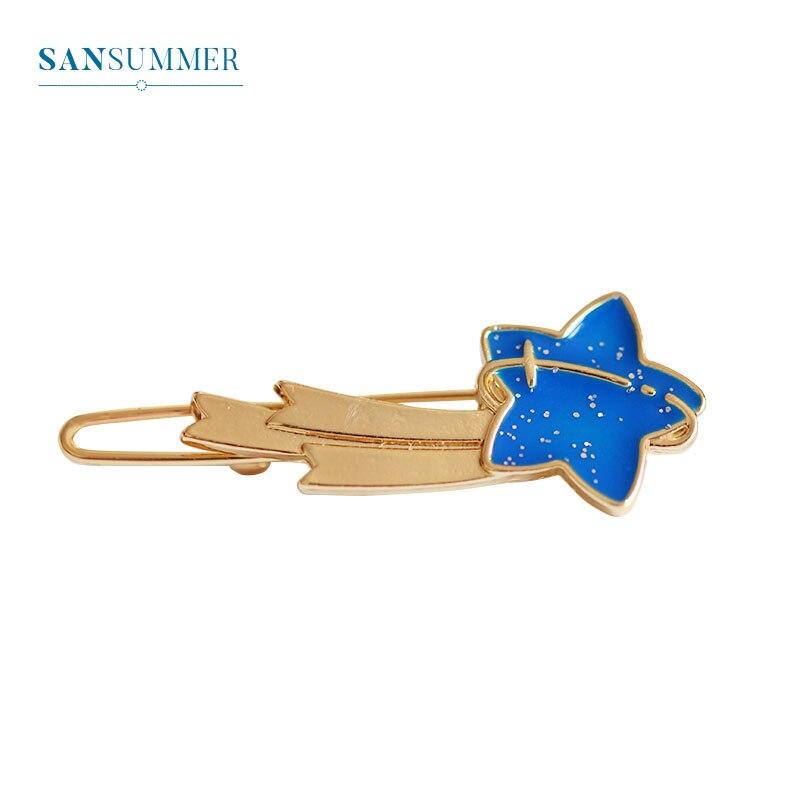 Sansummer New Hot Moda Estrelas Azuis Gato Bonito Juventude Feautiful Casual Hairwear Grampo de Cabelo Da Menina do Estilo Coreano Para A Mulher de Jóias 840