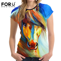 FORUDESIGNS 3D Horse Printed Women Oil Painting T Shirt For Girl Summer Female Shirt Short Sleeved