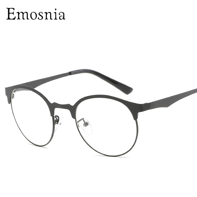 40e58d14cc Emosnia Fashion Round Plain Glasses Women Top Quality Clear Metal Frame  Brand Design Sunglass Female Vintage