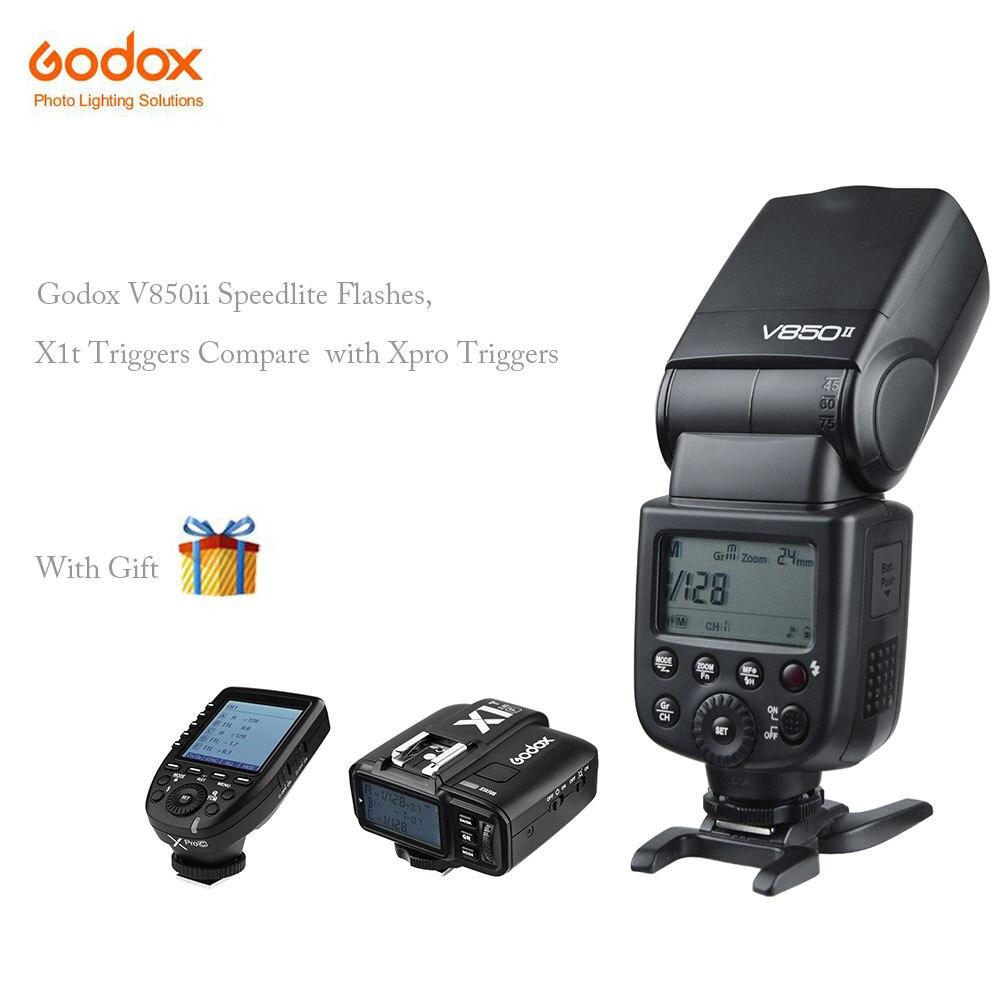 Godox V850II Cameras Flash with VB18 Battery Speedlight For Sony Canon Nikon +Xpro-s X1t-c Godox Triggers 650 Full Power Pops godox x1t c