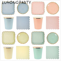 68pcs Foil Gold Gilded Paper Plate Cup Napkins Blue Pink Tiffany Yellow Party Tableware Birthday Bridal