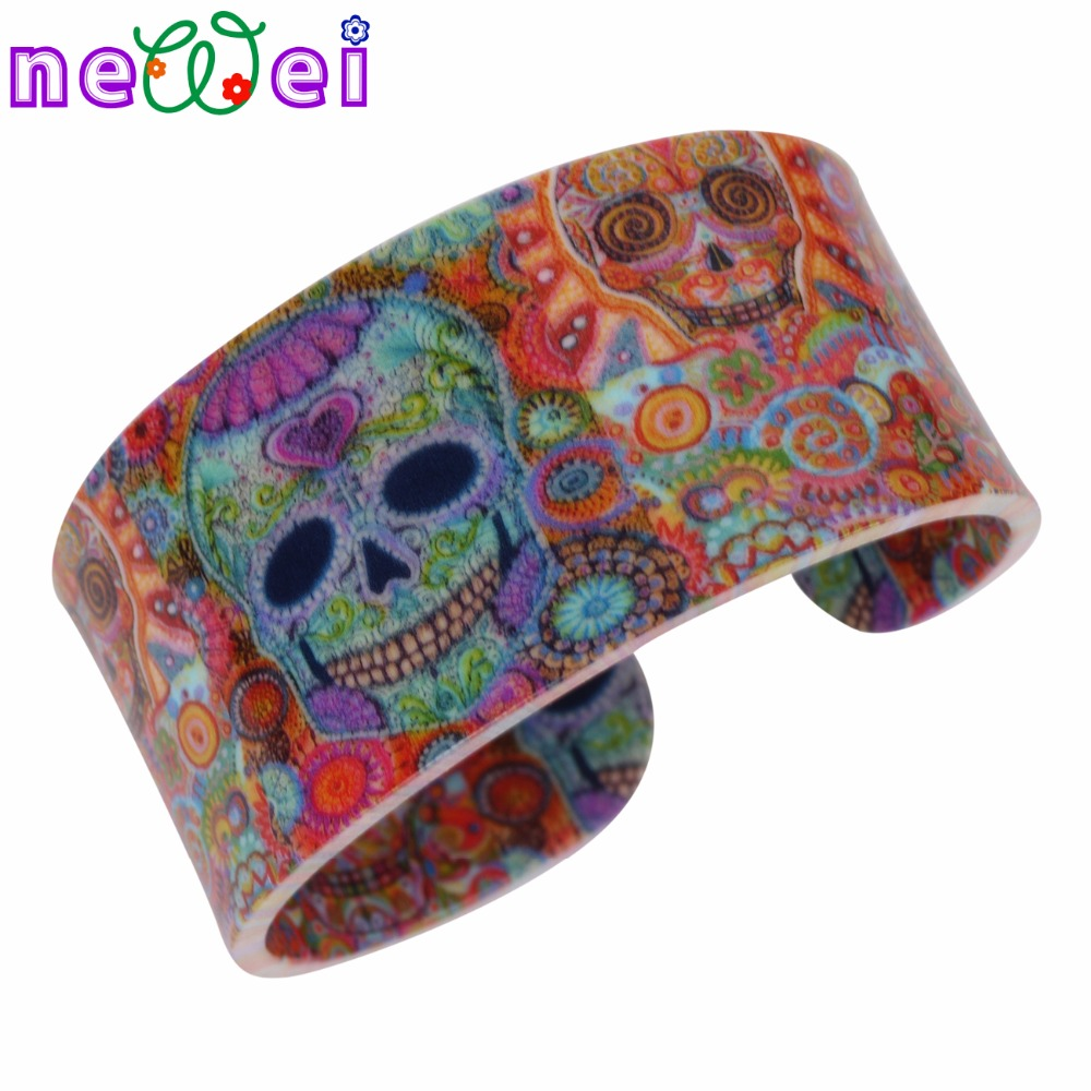 NEWEI Acrylic Skull Pattern Wide Love Halloween Gifts Bracelets Bangles For Women News Fashion Jewelry Party Accessories