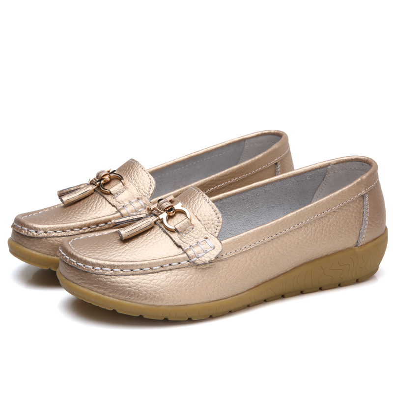 2018 New Women Fringe Real Leather Shoes Moccasins Mother Loafers Soft Flats Female Driving Casual Footwear Plus Size 10 Colors new brand men loafers genuine leather england designer business casual shoes classical male driving flats handmade moccasins