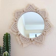 Round Mirror Macrame Hand -Made Cotton Rope Home Hanging Wall Decoration Stylish Appearance Retro Style Quick Delivery