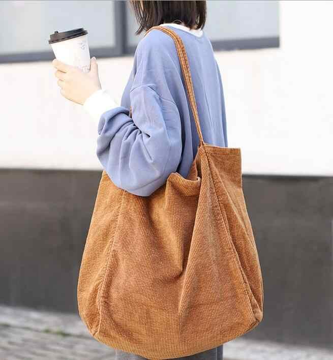 2019 เกาหลีขนาดใหญ่ความจุกระเป๋าแฟชั่นกระเป๋าผ้าใบ corduroy กระเป๋าถือ