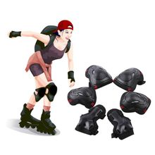 лучшая цена 6pcs Adult Kid Skating Protective Gear Sets Elbow Knee Pads Bike Skateboard Knees + Elbow + Wrist Protective