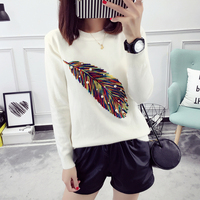 2017 Autumn Winter 6 Colors Women Sweaters Feather Patttern Thick Knitting Sweater Female Fashion Casual Loose