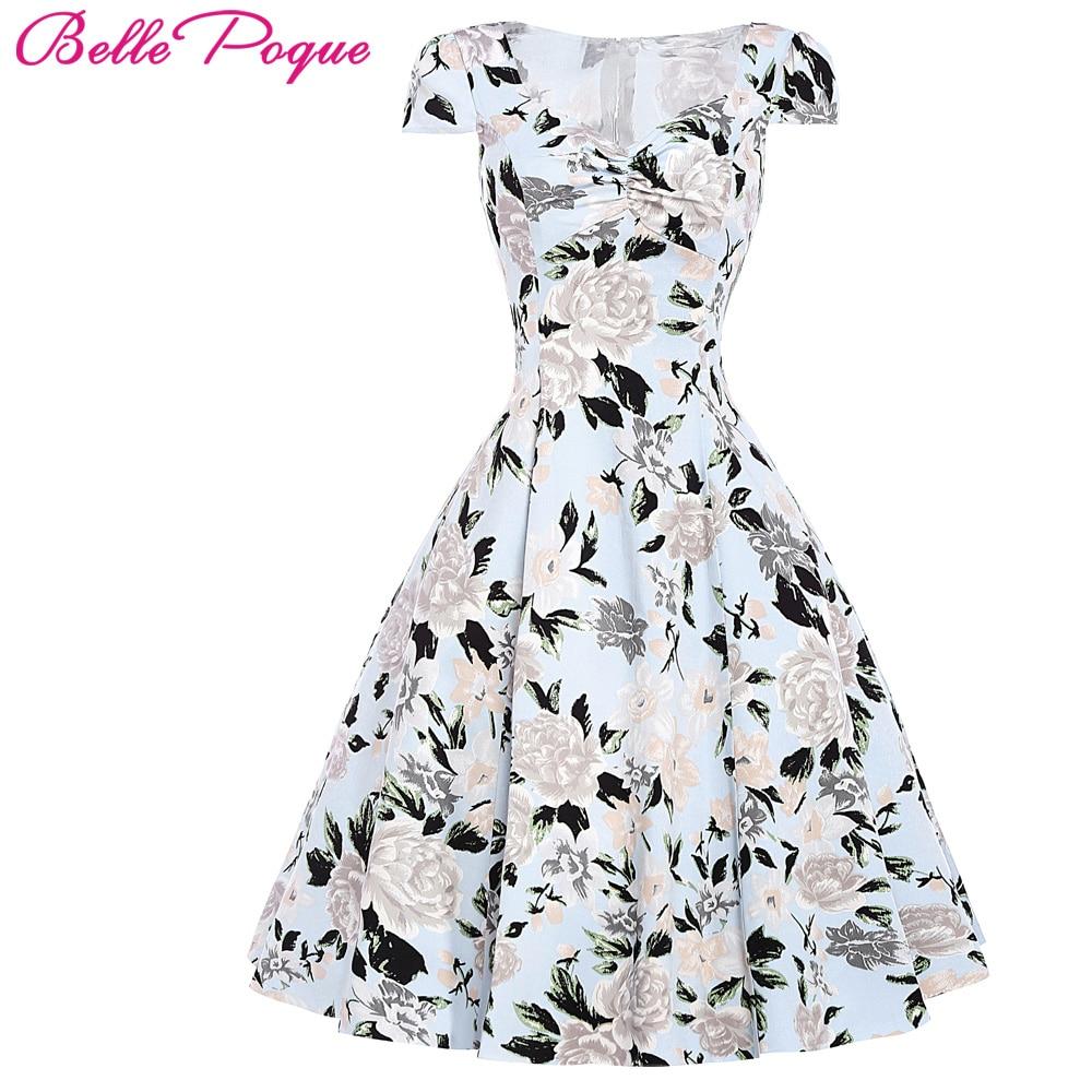 floral print dress 2017 ladies summer style 50s vintage. Black Bedroom Furniture Sets. Home Design Ideas