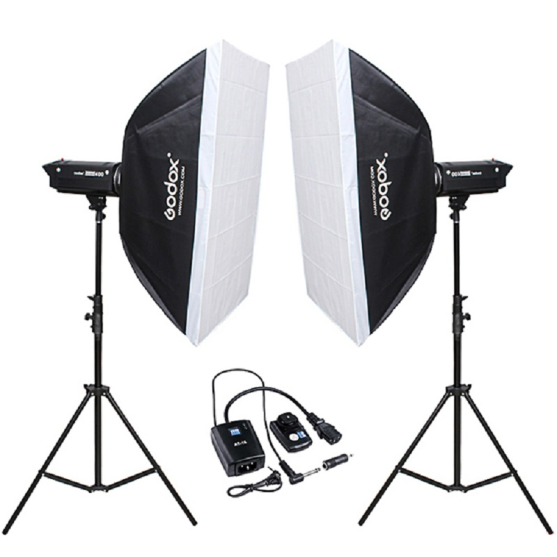 Godox Digi 400W X 2 Studio Strobe Flash Lamp Head with 2.8M Light Stand Bowens 60cm X 90cm  Softbox 800w 110V~240V godox 28x40 70x100cm softbox with bowens mount for pro photography studio strobe flash light free shipping