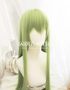 Image 2 - FGO גורל גרנד סדר Enkidu פאה ירוק 90cm ארוך ישר קוספליי סינטטי שיער למבוגרים Enkidu פאה