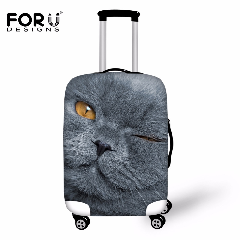 FORUDESIGNS 2019 Fashion Luggage Protector Covers Gray 3D Cat Dog Animal Suitcase Cover For 18-30 Inch Case Travel Accessories