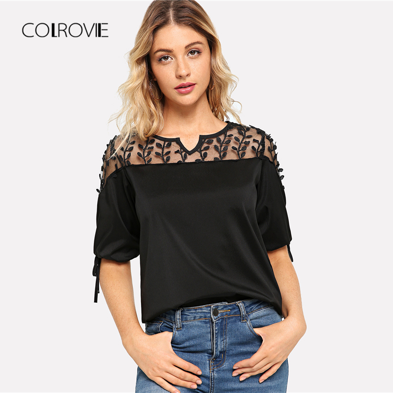 COLROVIE Autumn Black Solid Knot Mesh Panel Blouse Shirt 2018 Summer New Workwear Feminine Blouse Casual Half Sleeve Women Tops