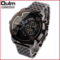 Oulm Watches Mens Relojes Mujer Stainless Steel Double Movement Numbers Hours Quartz Men Sports Watches Military Reloj Hombre