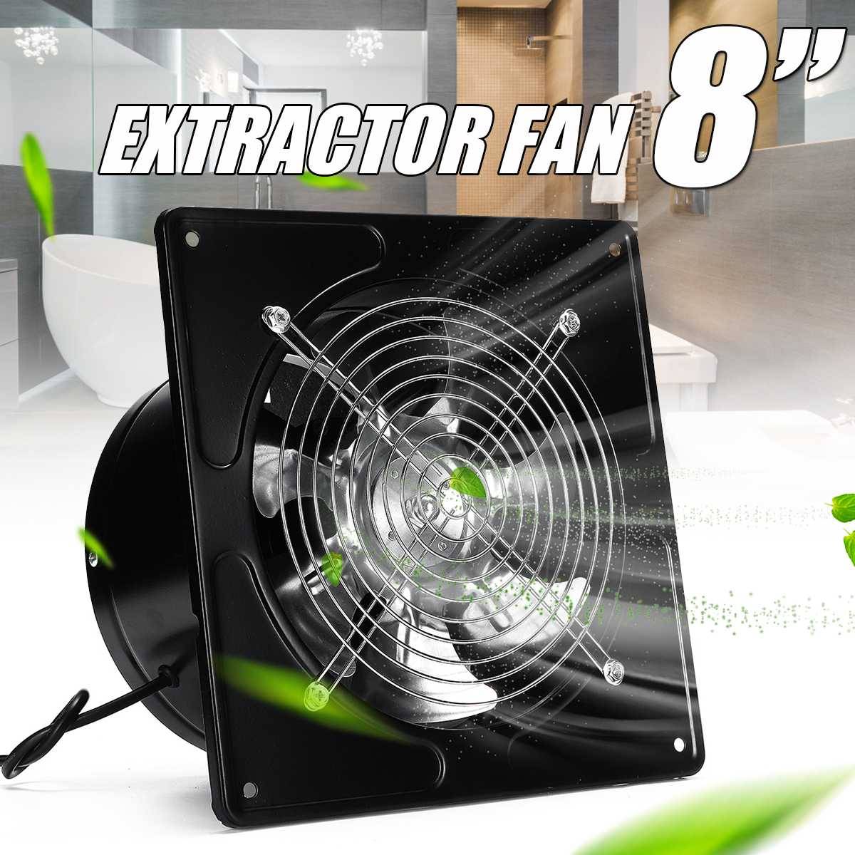 High Speed 8'' 80W Silent Wall Extractor Ventilation Fan Bathroom Kitchen Window Toilet Ventilator Industrial Exhaust Panel Fan