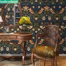 Обои в китайском стиле с коричневыми цветами и птицами, 0,53x10 м, обои для гостиной, спальни, столовой, телевизора, дивана, фоновые обои