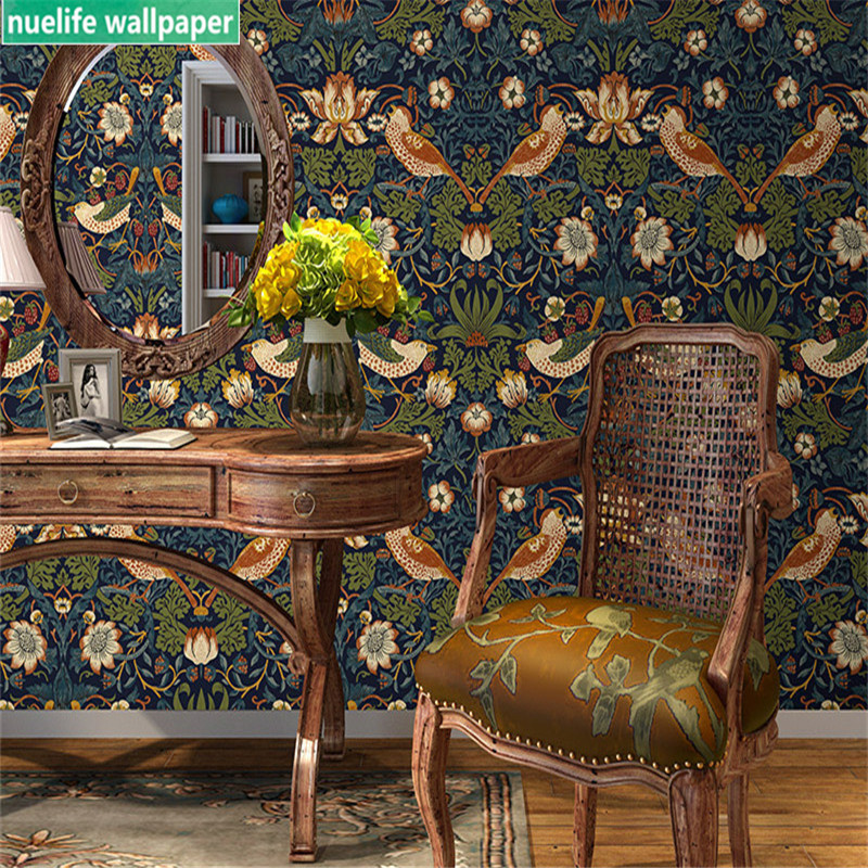 0.53x10m Chinese Style Brown Flower And Bird Pattern Wallpaper Living Room Bedroom Dining Room TV Sofa Background Wall Paper