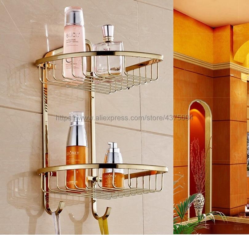 Wall Mounted Gold Messing Dubbele Laag Douche Hoekplank Badkamer Mand Houder Shampoo Opslag Plank Rek Handdoek Haken Nba098