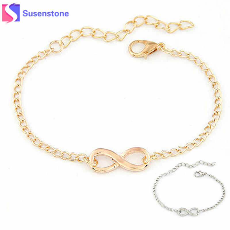 SUSENSTONE 2018 New Fashion Link Chain Women Men Handmade Gift Charm 8 Shape Jewelry Infinity Bracelet Siver and Gold #0