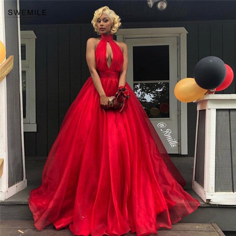 Robes De Gala Sexy rouge dos nu robe De bal 2019 longue charmante bleu Royal Organza a-ligne robes De soirée