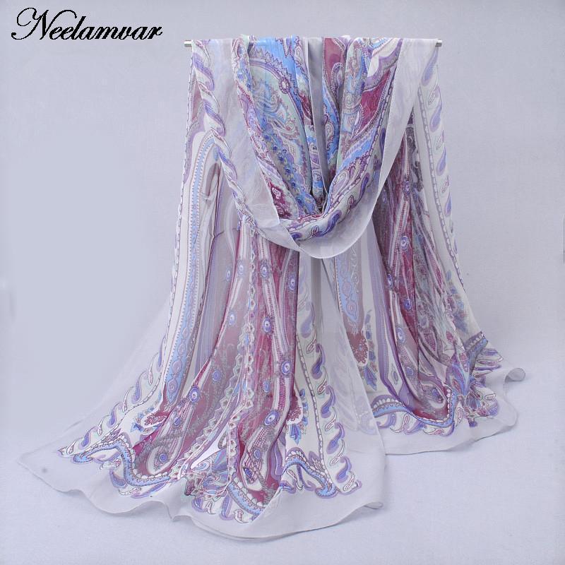 novi svileni šal iz šafonke Georgette ženske Bohemia dolge šal - Oblačilni dodatki - Fotografija 2