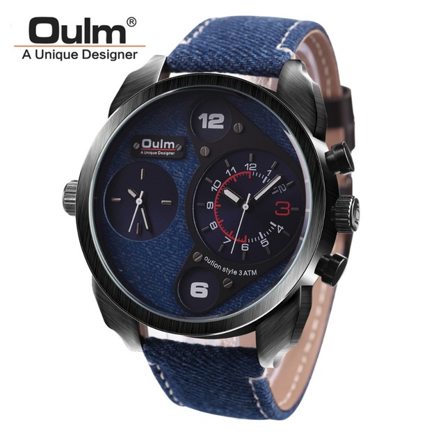 85b86f5c525 Oulm Brand Canvas Band Watches Mens Dual Time Zone Japan Quartz Movement  Watch Big Dial Military