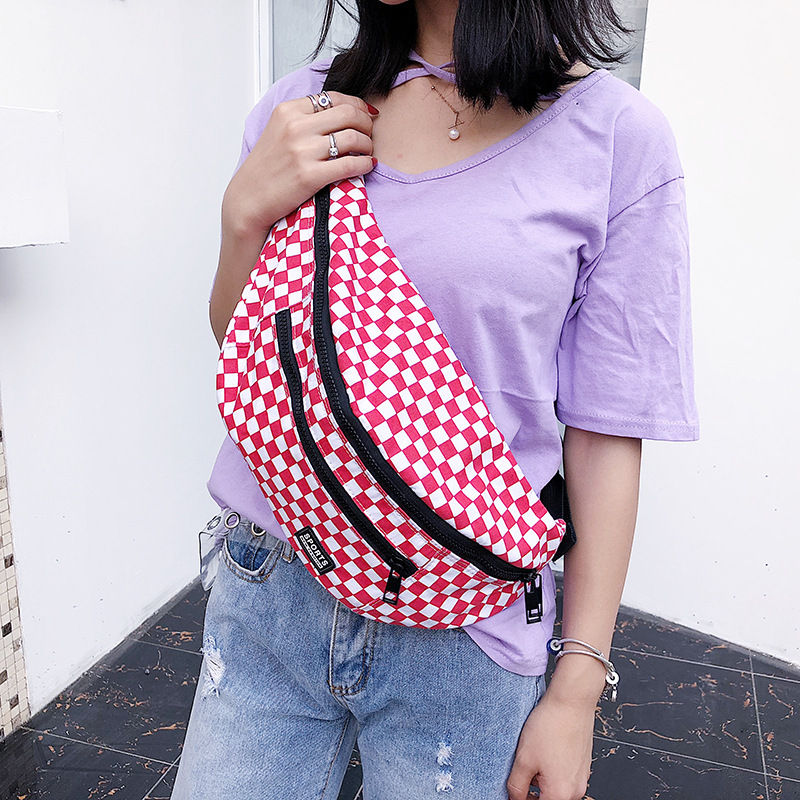 Female Checkerboard Fanny Pack Ladies Big Chest Belt Bag Women Checkered Waist Bags Large Capacity Crossbody Waist Packs 615