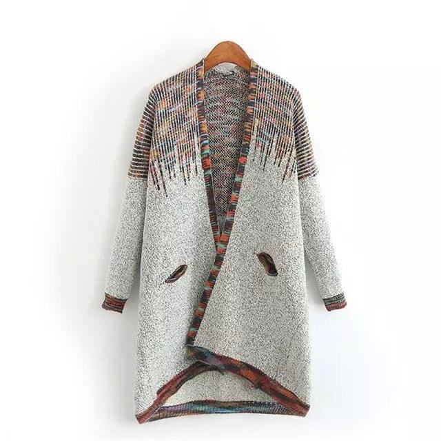 2016 Новые Моды для Женщин Осень Зима женщин Трикотажные Хлопок Длинные Кардиганы Повседневная Свитера Горячие Продажа C176