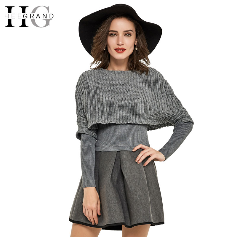 HEE GRAND 2017 Spring New 2 Pieces A-Line Mini Women Dress Solid O-Neck Knitted Elegant Casual Vestidos Dresses WQL4298 заглушка желоба grand line универсальная красное вино металлическая