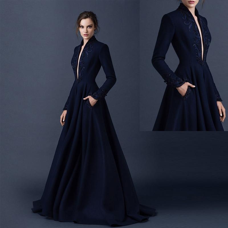Glamorous Black Deep V Neck Long Sleeve Appliques Evening Dresses