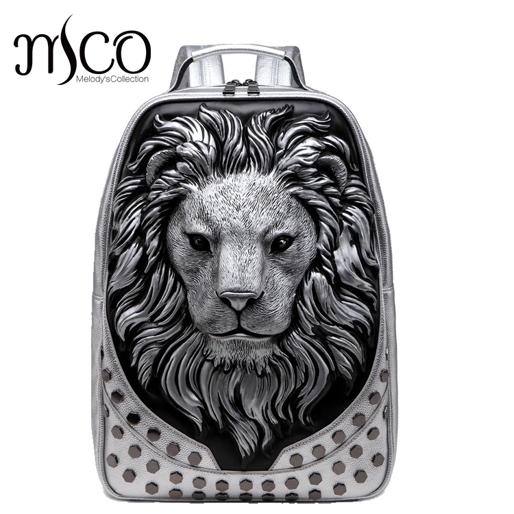 MCO 3D Embossed Lion Head Studded Rivet Gother Men Backpack Women PU Leather Soft Travel Backpacks Laptop School Halloween Bag 3d lion leather backpacks fashion men school travel computer backpack bags personality silver gold rivet animal bags halloween