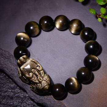 Obsidienne en cristal de quartz naturel le mythique bracelet animal sauvageObsidienne en cristal de quartz naturel le mythique bracelet animal sauvage