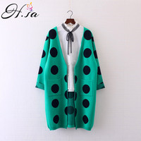Women Cardigans 2016 Autum Winter Casual Sweater Poncho Dot Printed Burderry Sweter Mujer Korean Long Cardigan
