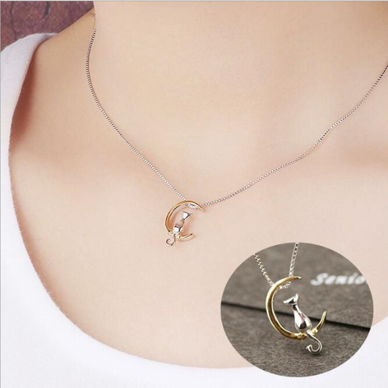 Animal 925 Sterling Silver Korean Fashion Jewelry Cute Cat Crescent Moon Female High-quality Personality Pendant Necklace H192 skull cat print crescent hem top