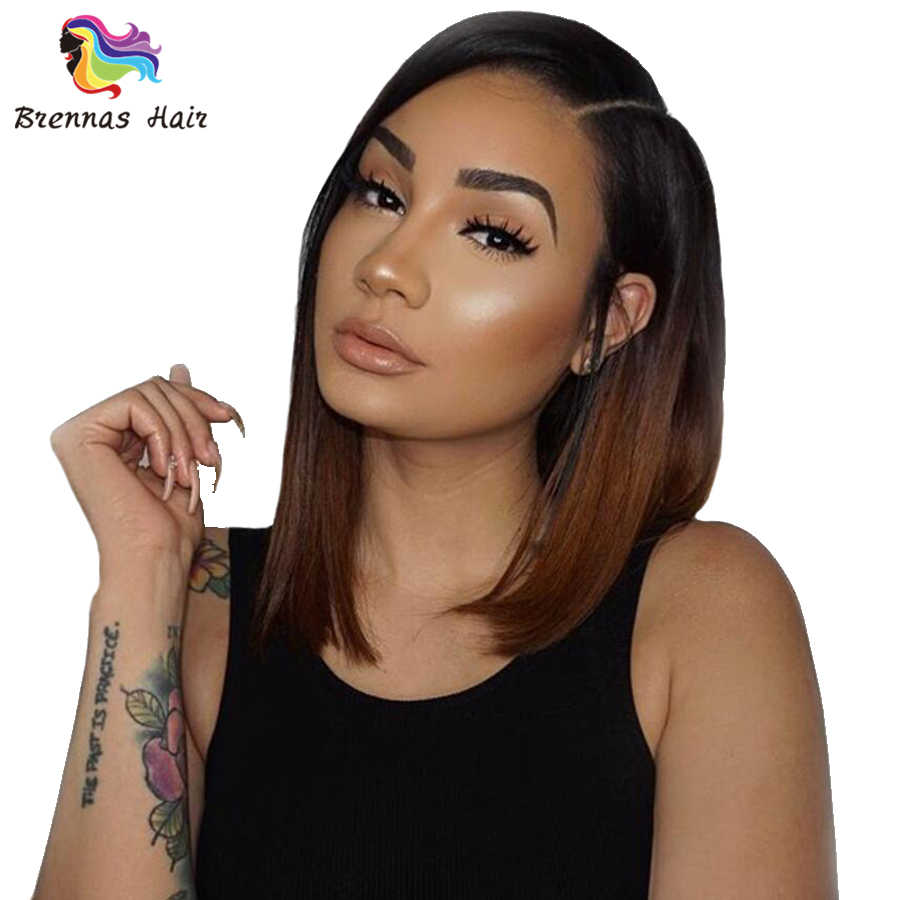 Lace front human hair wigs side part ombre Brazilian short straight lace wig preplucked and bleached knots 1b 30 dark brown