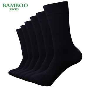 Мужские носки из бамбука темно-синего цвета, дышащие антибактериальные носки для деловых встреч (6 пар/лот)