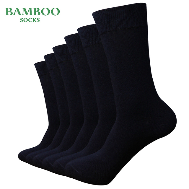 התאמה עד גברים במבוק כהה כחול גרביים לנשימה אנטי בקטריאלי איש עסקים שמלת גרביים (6 זוגות\חבילה)