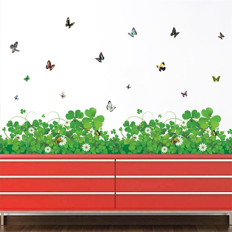 Romantic Fresh Clover Flower And Butterfly Skirting Line Wall Decals Home Room Wedding Stickers Waist Wallpapers Decorations
