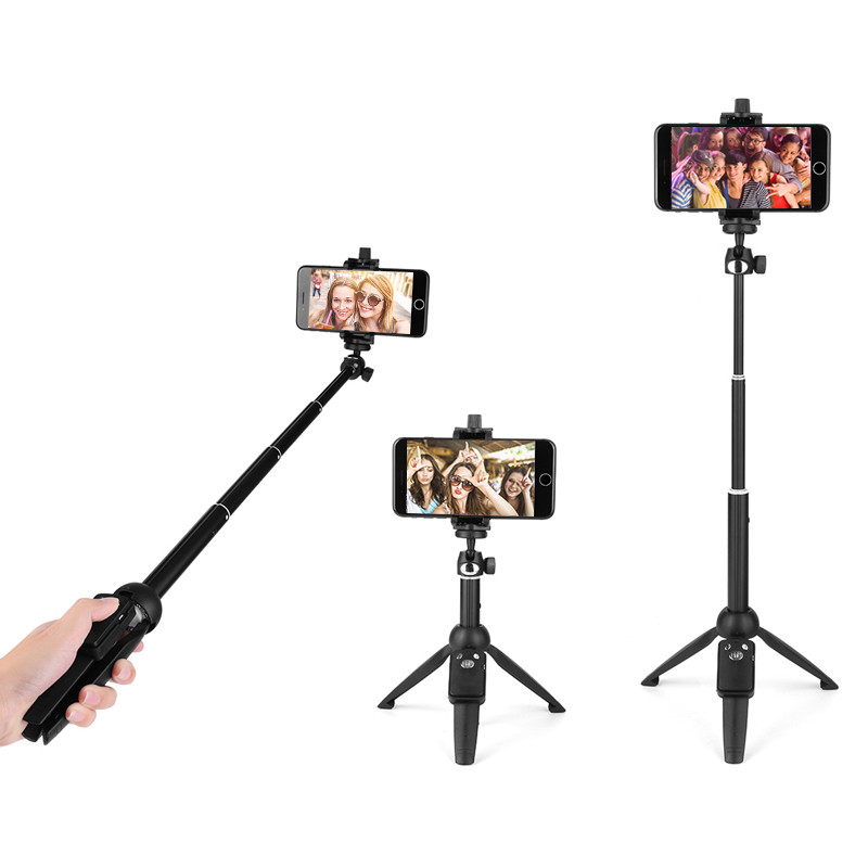 2-in-1 Mini Desktop Tripod Self Selfie Stick with Phone Holder Remote Controller For Smartphones Handheld Extendable ...