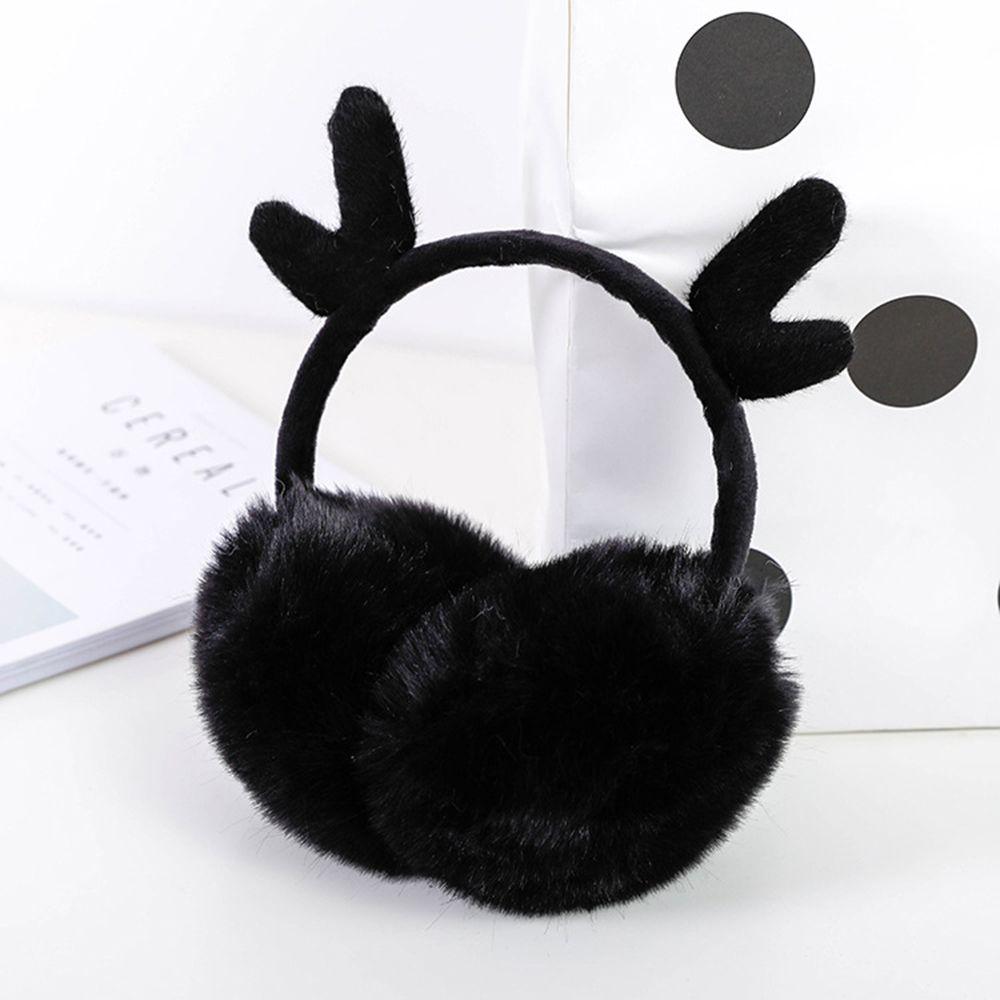 Ear Muffs Winter Warmers Cute Antlers Flannel Fur Earwarmers Outdoor For Women Girls Gift Cover Ear 1 PC