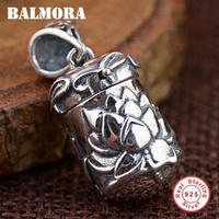 BALMORA 100 Real 925 Sterling Silver Jewelry Vintage Lotus Flower Pendants Fit For Necklaces Women Accessories