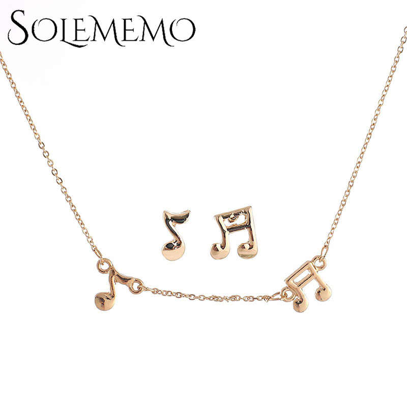 Solememo Gold สีสร้อยคอจี้ต่างหูหญิงสาวชุดเครื่องประดับสำหรับคนรักของขวัญขายส่ง 2018 Hot N6748