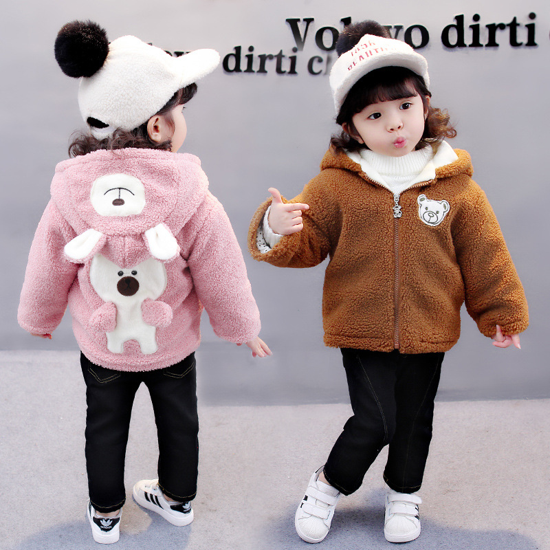 Children Outerwear Cute Baby Girls Winter Jackets Warm Coat Full Sleeve Thicken Hooded Lapel Fashion Cartoon Bear Kids Clothes baby winter outerwear