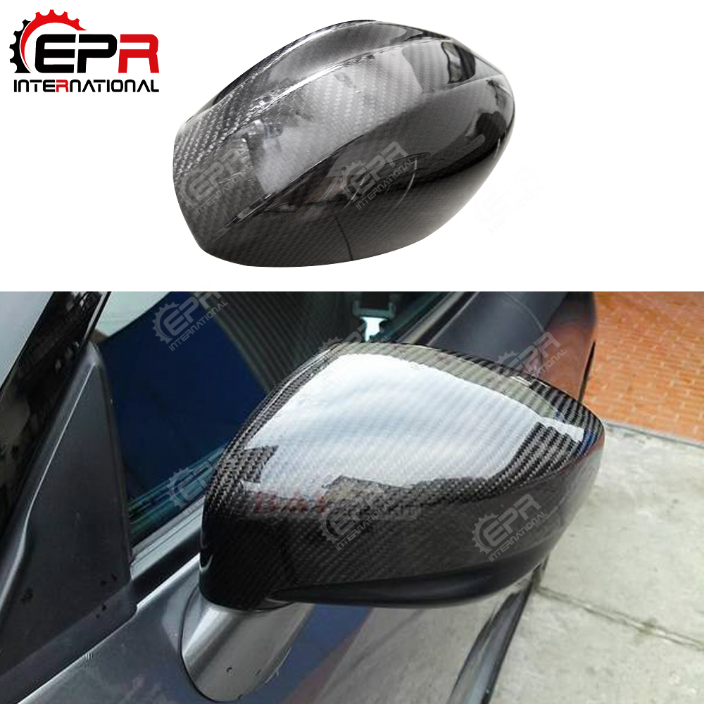 For Nissan R35 GTR OEM Carbon Fiber Side Mirror Cover Stick On Type Glossy Finish Tuning Drift Kit Rear View Trim Part