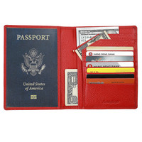 Fancytrader Soft Travel Leather RFID Passport Wallet Cover Style Passport Organizer For Men Women Back Yellow