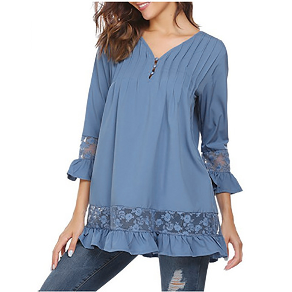 Hot Product Women 3/4 Sleeve V Neck Buttons Speaker Sleeve Tops Lace Tops T-Shirt funny t shirts short femininodrop shopping