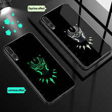 ciciber For Huawei P30 P20 Mate 20 Lite Pro Luminous Tempered Glass Phone Cases for Honor 10 Cover Marvel Venom Iron Man