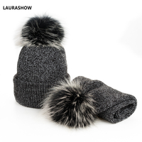 New 2 IN 1 Children Winter Hat Scarf for Girls Hat Real Raccoon Fur Pom Pom Beanies Woman Cap Knitted Winter Hat Wholesale